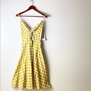 NWT Gilli | Gingham Plaid Cut Out Cotton Dress S